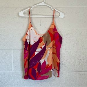 A new day tropical floral sleeveless cami blouse